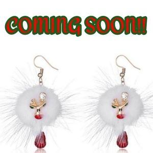 🆕 COMING SOON! Reindeer Poof & Crystal Earrings